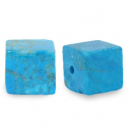 8 mm natural stone beads square Azure Turquoise Blue