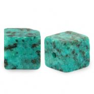 8 mm natural stone beads square Ocean Blue