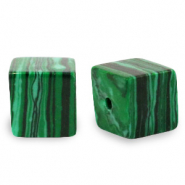 8 mm natural stone beads square Green