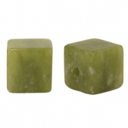 8 mm natural stone beads square Olive Green