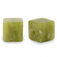 4 mm natural stone beads square Olive Green