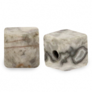 4 mm natural stone beads square Light Grey