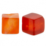 4 mm natural stone beads square Fire Red