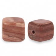 7 mm natural stone beads square Multicolour Soft Brown