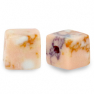 4 mm natural stone beads square Marble Peach Pink