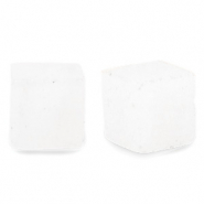 4 mm natural stone beads square Crystal Opal White