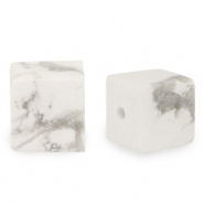 8 mm natural stone beads square Marble White