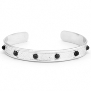 Stainless steel bracelets with Black Onyx Silver-Black