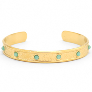 Stainless steel bracelets with Amazon Gold-Blue