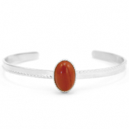 Stainless steel bracelets with Red Jasper Silver-Red