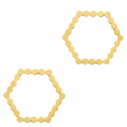 Stainless steel charms/connector hexagon Gold