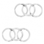 Stainless steel charms/connector triple circle Silver