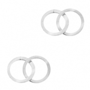 Stainless steel charms/connector double circle Silver