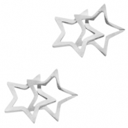 Stainless steel charms/connector double star Silver