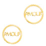 "Stainless steel charms/connector ""AMOUR"" Gold"
