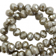 Top faceted beads 4x3mm disc Charcoal Grey-Pearl Shine Coating