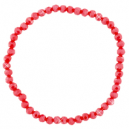 Top faceted bracelets 4x3mm Samba Red-Pearl Shine Coating