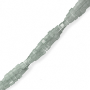 Top faceted beads cube 2x2mm Light Grey-Pearl Shine Coating
