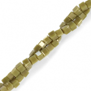 Top faceted beads cube 2x2mm Olive Army Green-Pearl Shine Coating