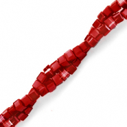 Top faceted beads cube 2x2mm Ruby Red-Pearl Shine Coating