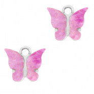 Charm with 1 loop butterfly Lilac Purple-Silver