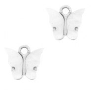 Charm with 1 loop butterfly White-Silver