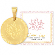 Stainless steel Mix & Match charms 15mm Birth flower July-Water lIly Gold