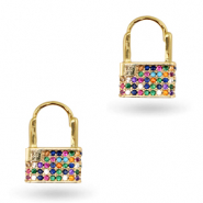 Zirconia rainbow earrings Gold