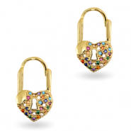 Zirconia rainbow earrings heart Gold