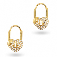 Zirconia earrings heart Gold