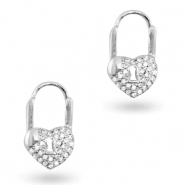 Zirconia earrings heart Silver