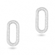 Zirconia oval connector Silver
