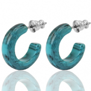 Earrings Creole Polaris Elements 18mm Waterfall Blue