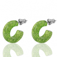 Earrings Creole Polaris Elements glitter 18mm Green Flash