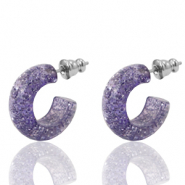Earrings Creole Polaris Elements glitter 18mm Provence Lilac