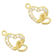 Zirconia charm hearts Gold