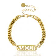 "Stainless steel bracelets chain link ""AMOUR"" Gold"