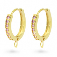 Zirconia creole earrings with loop Gold-Pink