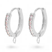 Zirconia creole earrings with loop Silver-Pink