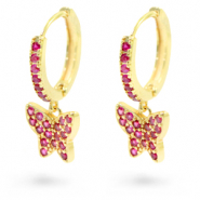 Zirconia creole earrings with butterfly Gold-Pink
