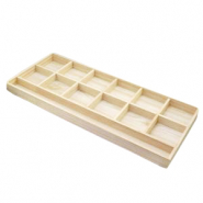 Jewellery display 13-compartments for various jewellery and jewellery cards Natural (natural wood colour)