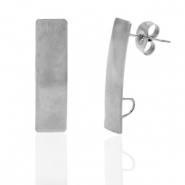 Stainless steel earrings/earpin rectangle with loop Silver