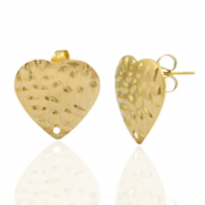 Stainless steel earrings/earpin heart hammered with eye Gold