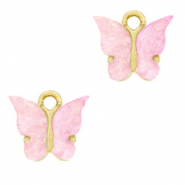 Charm with 1 loop butterfly Light Lilac Purple-Gold