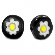 Millefiori beads disc flower 10mm Black-White-Yellow
