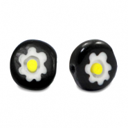 Millefiori beads disc flower 8mm Black-White-Yellow