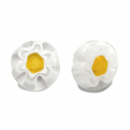 Millefiori beads disc flower 8mm Transparent-White-Yellow