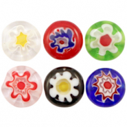 Millefiori beads disc flower 10mm Multicolour