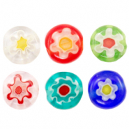 Millefiori beads disc flower 6mm Multicolour