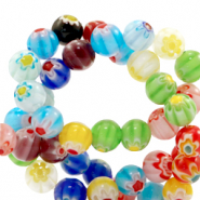 Millefiori beads round flower 8mm Multicolour